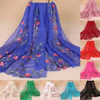 New Women Chiffon Long Scarf Muslim Embroidery Hijab Arab Shawl Headwear Casual
