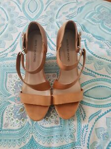 ESTILO EMPORIO Tan Brown Leather Strappy Wedges High Heels Size 39 C32