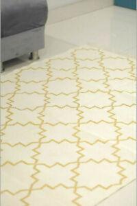 4X6 Ft Cotton Zari Rug Carpet Handwoven Hallway Runner Indian Kilim Area Rugs