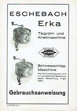 Eschebach Radeberg Prospekt Knetmaschine Erka Bedienungsanleitung 1933