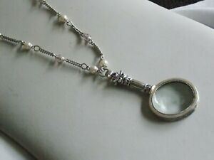 Very Sweet & Practical Silver Tone Faux Pearl Magnifying Glass Pendant & Chain