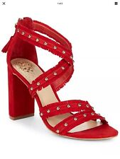 Vince Camuto Machila Suede Sandal, 9, Red
