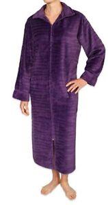 NEW Miss Elaine Jacquard Minky Fleece Long Zipper Robe Purple Plum Sz SM #68786