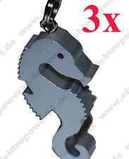 3x Llavero Caballito de Mar de Aluminio Con Anillo