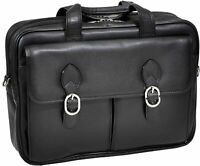 "McKlein TopGrain Cowhide Leather 15"" Leather Double Compartment Laptop Briefcase"