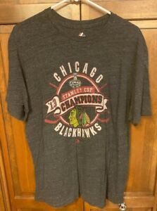 Majestic Chicago Blackhawks 2013 Stanley Cup Champs Tee T Shirt Men L Gray Grey