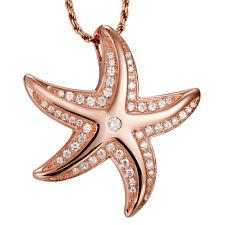 Rosa Oro su MASSICCIO 925 argento sterling 925 HAWAIANO Starfish SLIDE ciondolo