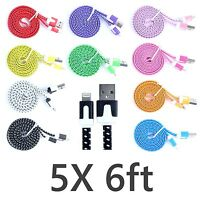 5X FLAT 6ft Braided Nylon 8 pin USB Sync Charger Cable iphone 6 6S Plus 5 5s 5c