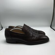 Bally Mens Penny Loafer Shoes Brown Apron Toe Slip On Dress Formal Business 10.5