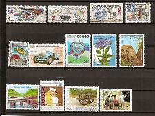 N°315-lot 13 timbres : 5  Tchécoslovaquie-  3 Congo -  5 Laos - oblitérés