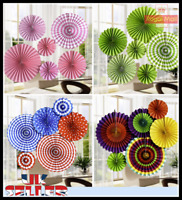 UK 6pcs Paper Fan Flowers Wedding Baby Birthday Party Tissue Paper  Decoration