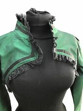 "Busk Steampunk,Victorian Green Bolero With Black Frill & Braids In M 36/38"""
