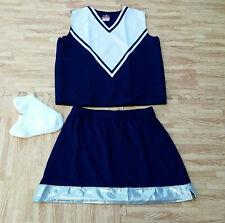 "Adult M/L Navy Blue Cheerleader Uniform Top Stretch Skirt 36-38/28-31"" Cosplay"