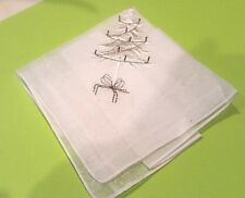 "Christmas Tree Embroidered Handkerchief Switzerland Cotton White 11"" square VTG"