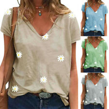 Ladies Women's V Neck Short Sleeve T-shirt Casual Daisy Printed Loose Tee Tops