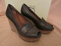 "WOMEN'S LUCKY BRAND JEANS ""LK-LAILA"" WEDGE PEEP-TOE BROWN LEATHER HEELS SIZE 8"