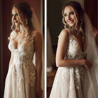 Sexy Boho Champagne Wedding Dresses V-neck Appliques Bohemian Beach Bridal Gowns