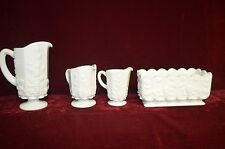 Hobnail 4 pc. white with grapes & leaves design 3D Bread bowl & 3 pitchers size>