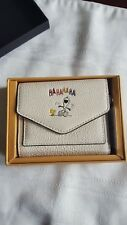 NIB Coach X Peanuts Snoopy Woodstock Laughing Wallet White Leather 16121