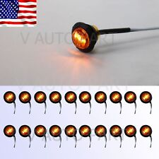 "20X Mini 12V 3/4"" Round Marker Tailer Light Amber Clearance 3 LED Bullet US Ship"