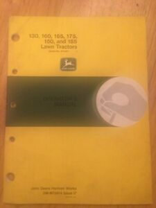 John Deere 130 - 185 Lawn Tractor Operators Manual Barn Find