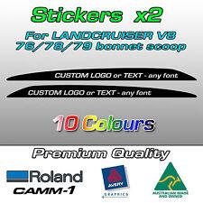 Custom text bonnet scoop bulge sticker V8 Landcruiser VDJ 70 76 78 79 series