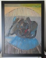 JAN STUSSY (b.1921) LISTED CALIFORNIA MODERNIST MID CENTURY ABSTRACT PAINTING
