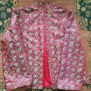 VINTAGE RETRO ORIENTAL CHINOISERIE DEEP RED PATTERNED CHINESE JACKET S M 10 12