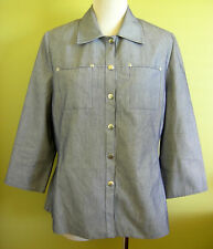 Ladies 3/4 Sleeve Shirt Jacket Top Clip Front Corporate Office Wear Noni Size 16
