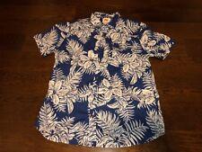 Levis Button Up Blue/White Floral Hawaiian Short Sleeve Shirt Mens Size L