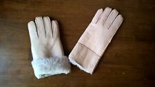 nude beige ladies women 100% genuine real leather sheepskin gloves mittens