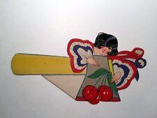Vintage Bridge Game Tally Place Card -- Patriotic Lady  w/ Cherries