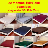 1pc 22 Momme 100% Pure Mulberry Silk Fitted / Bottom Sheets Single Size Seamless