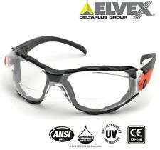 Elvex RX Go Specs Bifocal Safety/Reading Glasses/Goggles Clear A/F 2.5 Magnifier