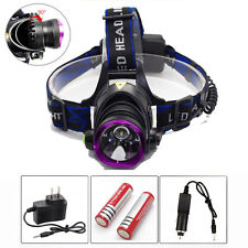 5000LM 3Modes LED Headlamp Headlight Torch Lamp+2x18650 Battery+Charger
