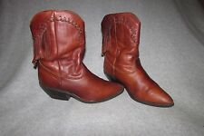 Sz 7 ZODIAC Z-LINE Vtg Brown Leather Short Boots Western Fringed Festival GUC