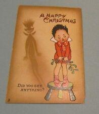 1910 Era Tuck Shadow Series Embossed Happy Christmas Postcard Did You See?