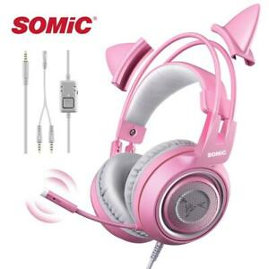 SOMIC Wired Headset Gamer Pink Cat Ear Headset Cute PS4 Phone PC With Microphone