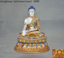 Tibetan crystal silver Filigre Inlay Coral gem Shakyamuni Medicine Buddha statue
