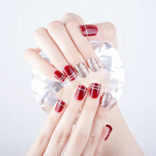 24PCS Deep Wine Red Sequins 3D Fashion fake false full nails tips sticker Glue