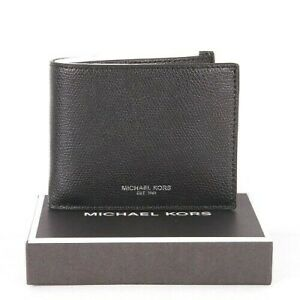 Michael Kors Mens Warren Billfold Wallet Leather Black with Gift Box