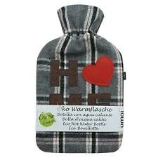Öko Wärmflasche 2 Liter mit kuschligem Fleece Bezug Home Wärmeflasche Überbezug