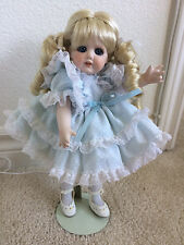 "Vintage 90s Antique Look Jamco Collection Blonde 12"" Porcelain Doll w/Blue Dress"