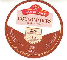 Etiquette de Fromage carton   Camembert Coulommiers Top Budget   N° 177