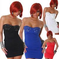 vestito donna mini abito corto borchie scollatura a cuore 4 colori tg.S,M,L