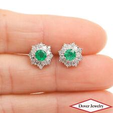 Estate Diamond Emerald Platinum Small Flower Snowflake Stud Earrings NR