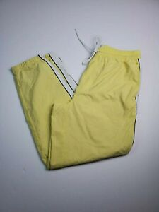 Urban Outfitters Men's Track Pants Size Large Yellow Nylon Stretch Waist Lined