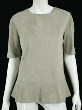 BRUNELLO CUCINELLI Greige Suede Leather Short Sleeve Peplum Top 44