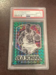 SCOTTIE PIPPEN 2019-20 PANINI MOSAIC OLD SCHOOL GREEN REFRACTOR PSA 10 SP RARE