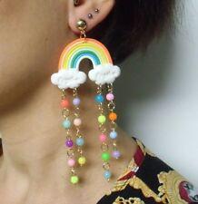 Boucles d'oreilles originales arc en ciel nuage perles de pluie multicolores